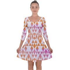 Geometric Abstract Orange Purple Quarter Sleeve Skater Dress