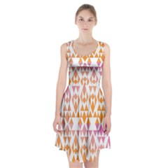 Geometric Abstract Orange Purple Racerback Midi Dress