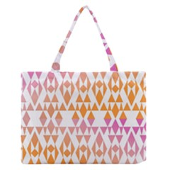Geometric Abstract Orange Purple Zipper Medium Tote Bag