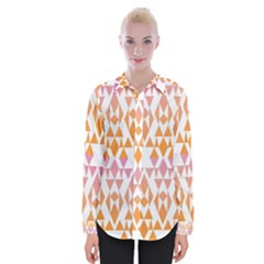 Geometric Abstract Orange Purple Womens Long Sleeve Shirt