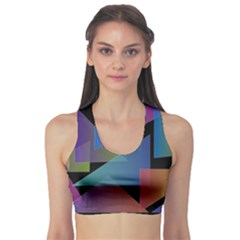 Triangle Gradient Abstract Geometry Sports Bra