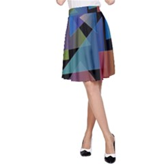 Triangle Gradient Abstract Geometry A Line Skirt