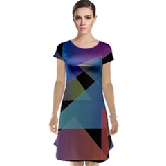 Triangle Gradient Abstract Geometry Cap Sleeve Nightdress