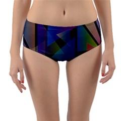 Triangle Gradient Abstract Geometry Reversible Mid Waist Bikini Bottoms