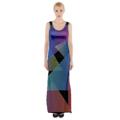 Triangle Gradient Abstract Geometry Maxi Thigh Split Dress