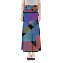 Triangle Gradient Abstract Geometry Full Length Maxi Skirt