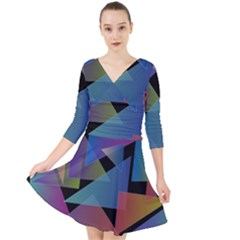 Triangle Gradient Abstract Geometry Quarter Sleeve Front Wrap Dress