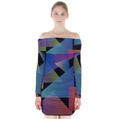 Triangle Gradient Abstract Geometry Long Sleeve Off Shoulder Dress