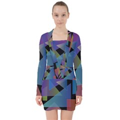 Triangle Gradient Abstract Geometry V Neck Bodycon Long Sleeve Dress