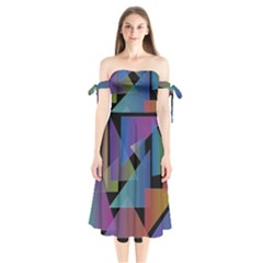 Triangle Gradient Abstract Geometry Shoulder Tie Bardot Midi Dress