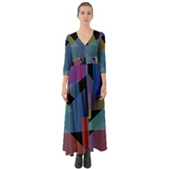Triangle Gradient Abstract Geometry Button Up Boho Maxi Dress