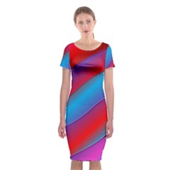 Diagonal Gradient Vivid Color 3d Classic Short Sleeve Midi Dress