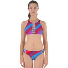 Diagonal Gradient Vivid Color 3d Perfectly Cut Out Bikini Set