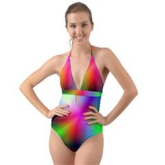 Course Gradient Background Color Halter Cut Out One Piece Swimsuit