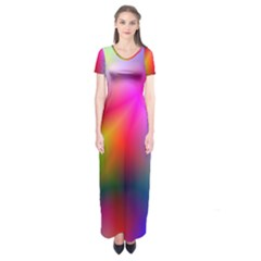 Course Gradient Background Color Short Sleeve Maxi Dress