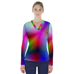 Course Gradient Background Color V Neck Long Sleeve Top