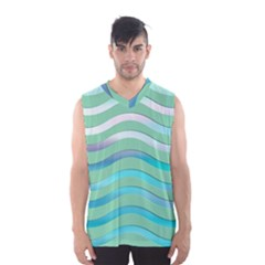 Abstract Digital Waves Background Men s Basketball Tank Top