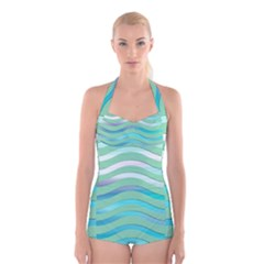 Abstract Digital Waves Background Boyleg Halter Swimsuit