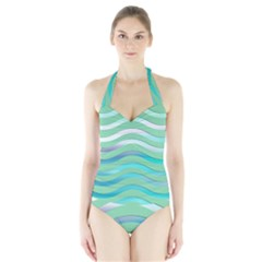 Abstract Digital Waves Background Halter Swimsuit
