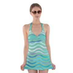 Abstract Digital Waves Background Halter Dress Swimsuit