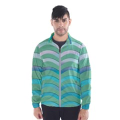 Abstract Digital Waves Background Wind Breaker (men)