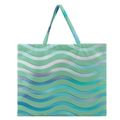 Abstract Digital Waves Background Zipper Large Tote Bag