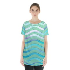 Abstract Digital Waves Background Skirt Hem Sports Top by BangZart
