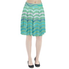 Abstract Digital Waves Background Pleated Skirt by BangZart