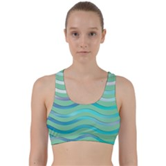 Abstract Digital Waves Background Back Weave Sports Bra