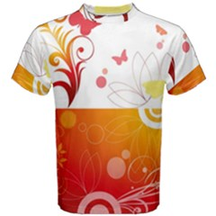 Spring Butterfly Flower Plant Men s Cotton Tee