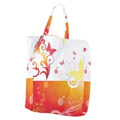 Spring Butterfly Flower Plant Giant Grocery Zipper Tote