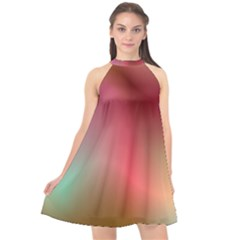 Colorful Colors Wave Gradient Halter Neckline Chiffon Dress