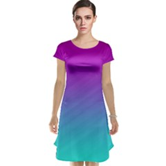 Background Pink Blue Gradient Cap Sleeve Nightdress