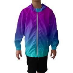 Background Pink Blue Gradient Hooded Wind Breaker (kids)