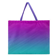 Background Pink Blue Gradient Zipper Large Tote Bag