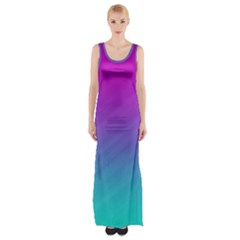 Background Pink Blue Gradient Maxi Thigh Split Dress
