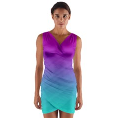 Background Pink Blue Gradient Wrap Front Bodycon Dress