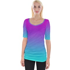 Background Pink Blue Gradient Wide Neckline Tee