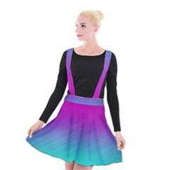 Background Pink Blue Gradient Suspender Skater Skirt