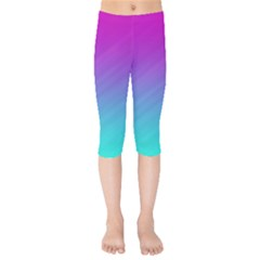 Background Pink Blue Gradient Kids  Capri Leggings