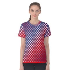 Dots Red White Blue Gradient Women s Cotton Tee by BangZart