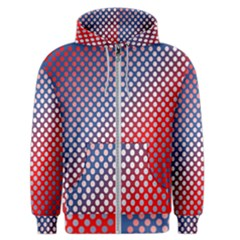 Dots Red White Blue Gradient Men s Zipper Hoodie
