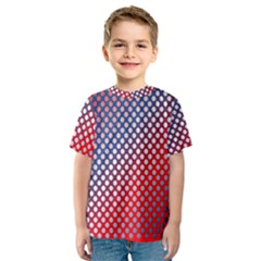 Dots Red White Blue Gradient Kids  Sport Mesh Tee