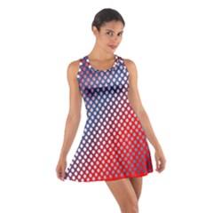Dots Red White Blue Gradient Cotton Racerback Dress