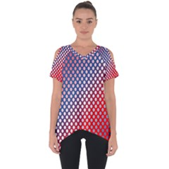 Dots Red White Blue Gradient Cut Out Side Drop Tee