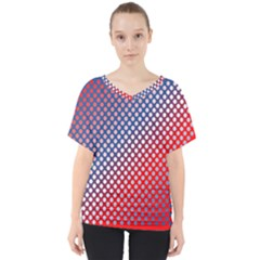 Dots Red White Blue Gradient V Neck Dolman Drape Top