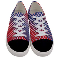 Dots Red White Blue Gradient Women s Low Top Canvas Sneakers