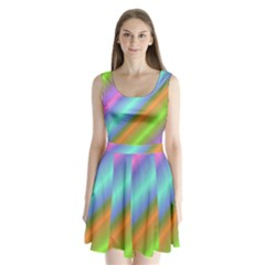 Background Course Abstract Pattern Split Back Mini Dress