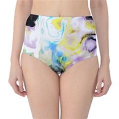 Watercolour Watercolor Paint Ink High Waist Bikini Bottoms