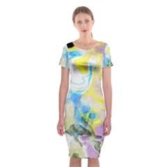 Watercolour Watercolor Paint Ink Classic Short Sleeve Midi Dress